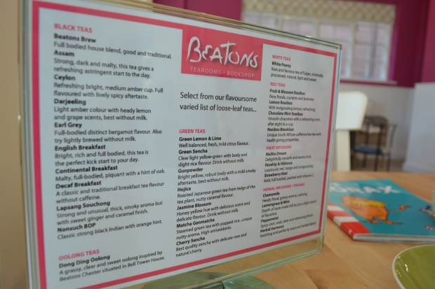 Menu at Beaton's Cafe, Chester